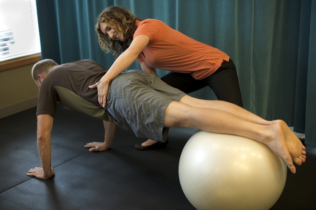 Plank on Ball for Lower Back Pain