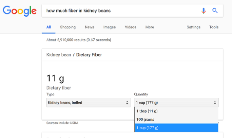 Google search for fiber