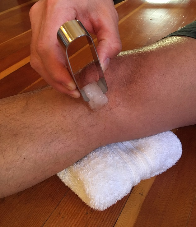Ice massage for swelling.