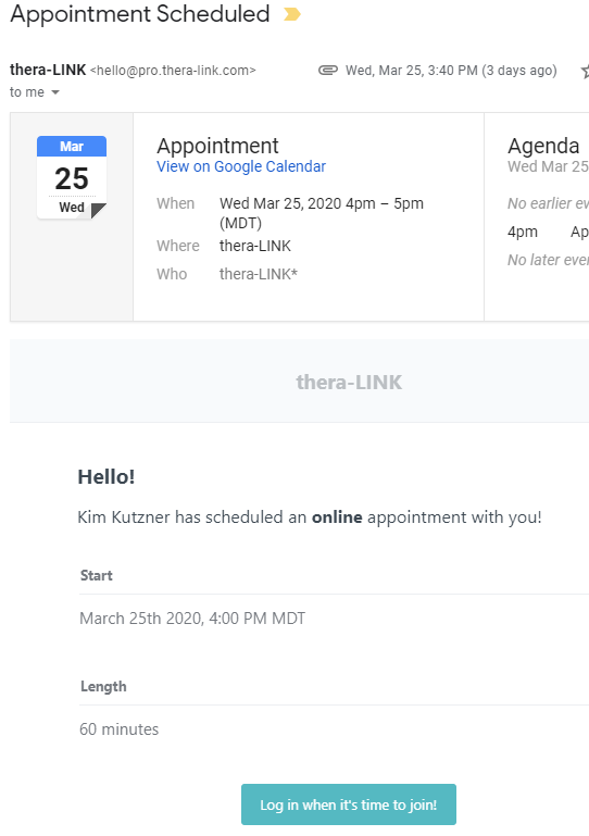 appointment confirmation email for telehealth physical therapy