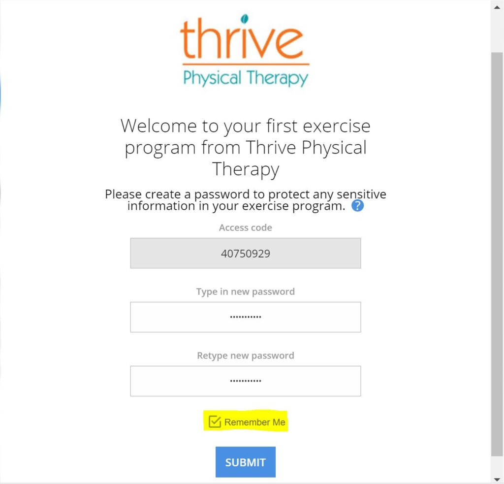 create account for home exercise program