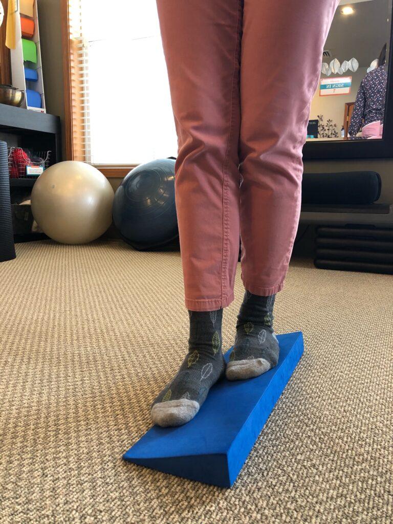 balance exercise on wedge