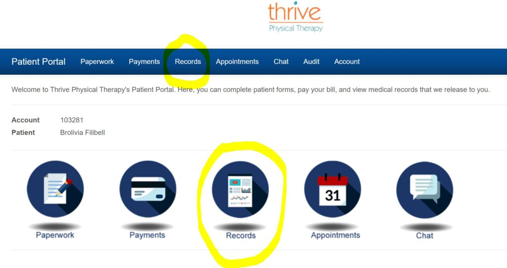 Records tab or icon on the patient portal